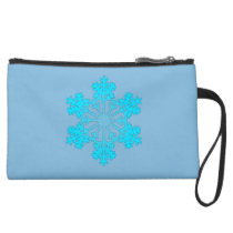 Blue Snowflake 2 Sueded Mini Clutch