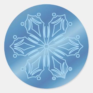 Blue Snowflake 4 Classic Round Sticker