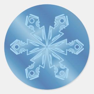 Blue Snowflake 5 Classic Round Sticker