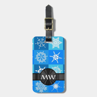 Blue snowflake abstract pattern luggage tag