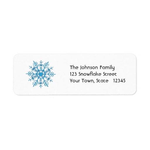 Blue Snowflake Address Label