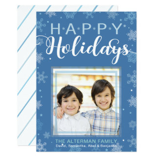 Blue Snowflake and Stars Happy Holidays Photo Card