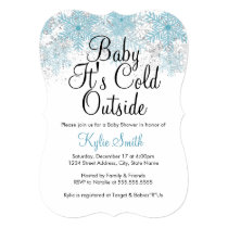 Blue Snowflake Baby It's Cold Outside Baby Shower Card