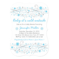 Blue Snowflake Baby Shower Invitations