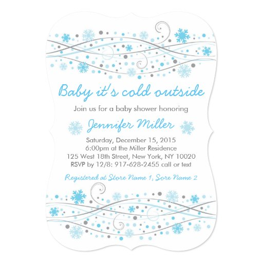 blue snowflake baby shower invitations zazzle