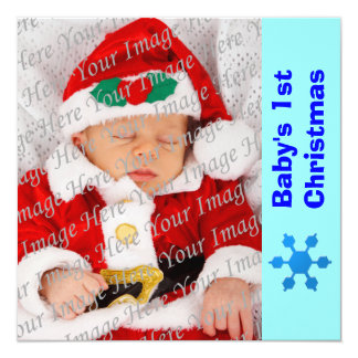 Blue Snowflake Baby's 1st Christmas Card