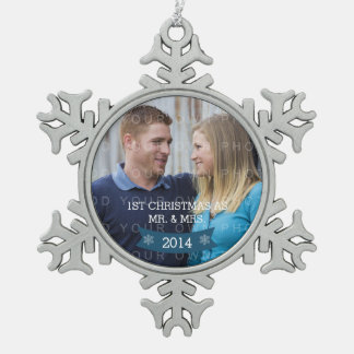 Blue Snowflake Banner Holiday Photo Ornament