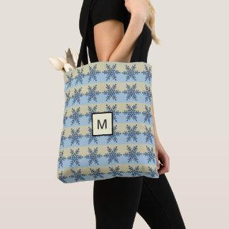 Blue Snowflake Beige Stripe Monogram Tote Bag