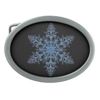 Blue Snowflake Belt Buckle
