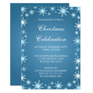 Blue Snowflake Border Christmas Party Invitations