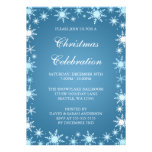 Blue Snowflake Border Christmas Party Invitations