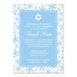Blue Snowflake Border Star of David Bat Mitzvah Personalized Invitation