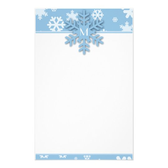blue snowflake border with monogrammed snowflake stationery zazzle com
