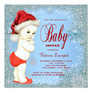 Blue Snowflake Boys Christmas Baby Shower Card