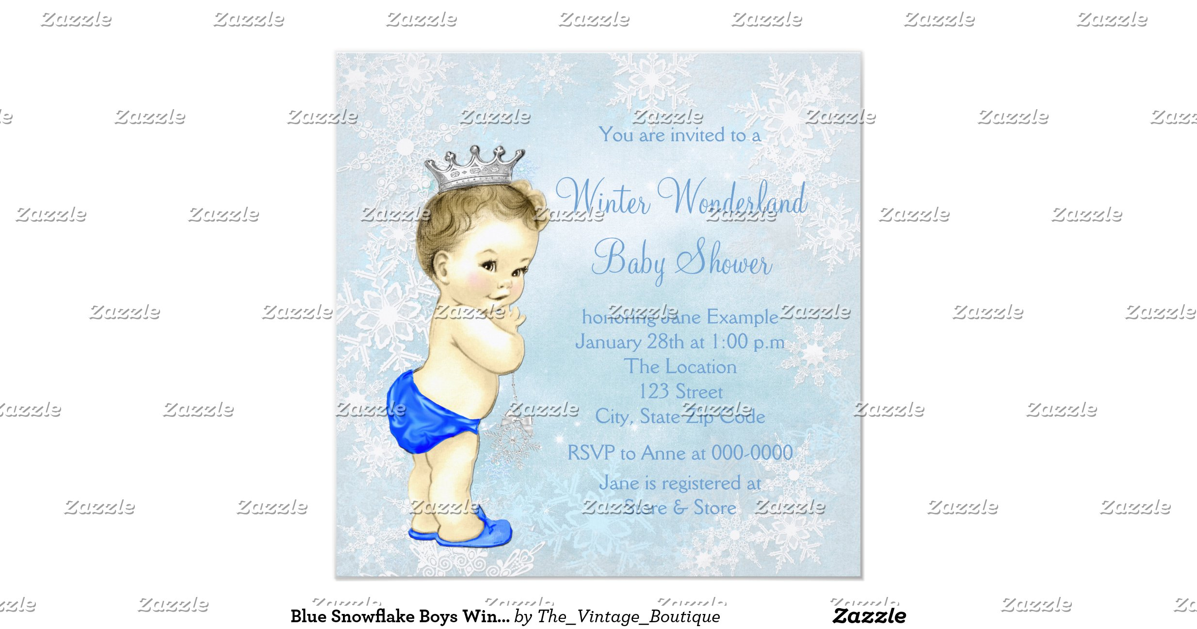 blue snowflake boys winter wonderland baby shower invitation