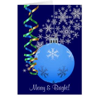 Blue Snowflake Bulb Christmas Card