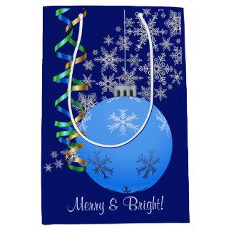 Blue Snowflake Bulb Christmas Medium Gift Bag