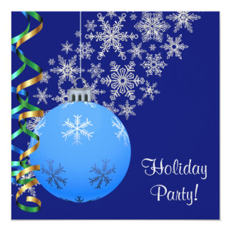 Blue Snowflake Bulb Holiday Party Invite