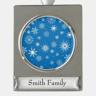 Blue Snowflake Christmas Design Silver Plated Banner Ornament