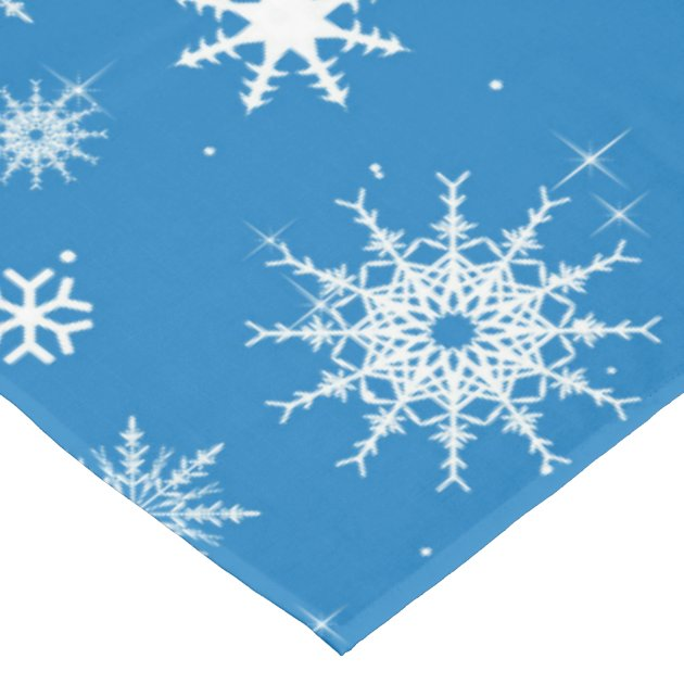 Blue Snowflake Christmas Design Tablecloth | Zazzle