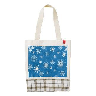 Blue Snowflake Christmas Design Zazzle HEART Tote Bag