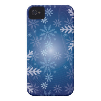 Blue Snowflake Christmas Pattern iPhone 4 Case-Mate Cases
