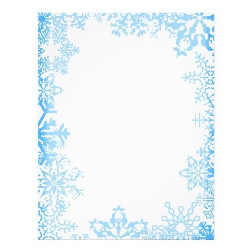 Blue Snowflake Christmas Stationary Letterhead | Zazzle