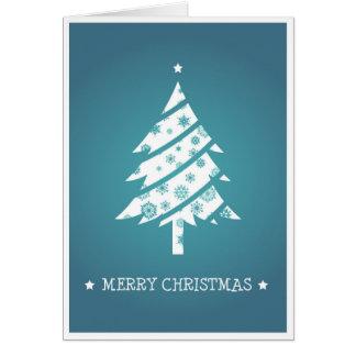 Blue Snowflake Christmas Tree Card