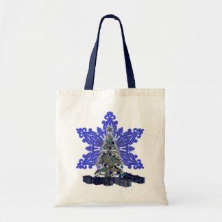 Blue Snowflake Christmas Tree Tote Bag