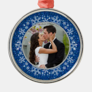 Blue Snowflake First Christmas Together Photo Metal Ornament