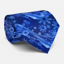 Blue Snowflake Fractal Art Men's Tie