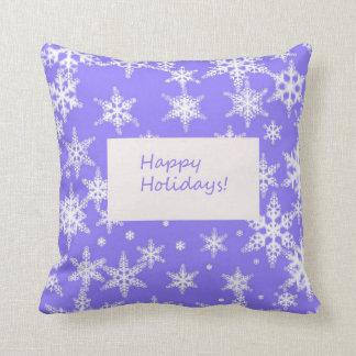 Blue Snowflake Happy Holidays Pillows