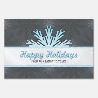 Blue Snowflake Holiday Christmas yard sign