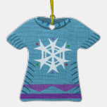 Blue Snowflake Holiday Sweater Christmas Ornament