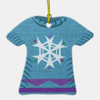 Blue Snowflake Holiday Sweater Double-Sided T-Shirt Ceramic Christmas Ornament