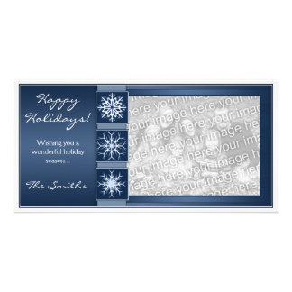 Blue Snowflake Holidays Card