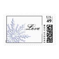 Blue Snowflake Love Winter Wedding Postage Stamp