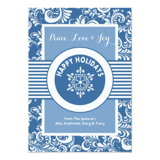 Blue Snowflake Medallion Holiday Card