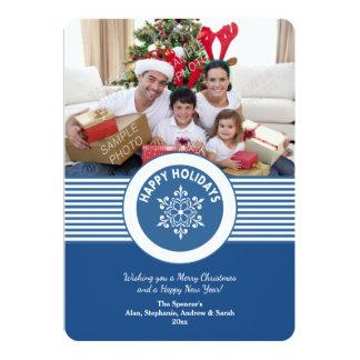 Blue Snowflake Medallion Holiday Card