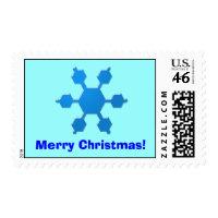 Blue Snowflake Merry Christmas Postage stamp