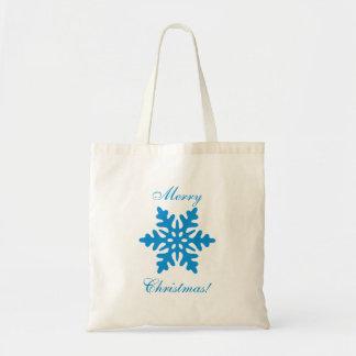 Blue Snowflake Merry Christmas Tote Bag