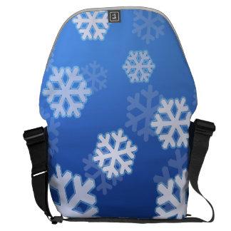 Blue Snowflake Messenger Bag