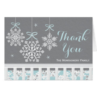Blue Snowflake Mobile Baby Shower Thank You Card