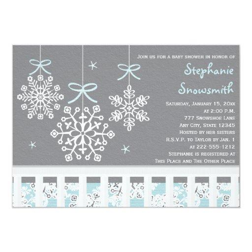 Blue Snowflake Mobile Crib Baby Shower Invitation