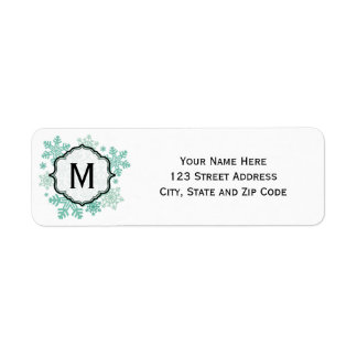 Blue Snowflake Monogram Address Labels