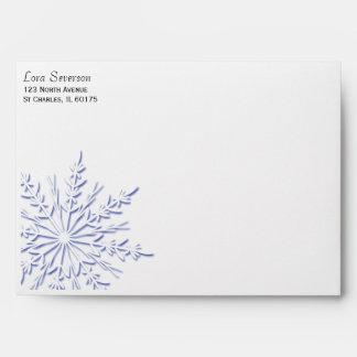 Blue Snowflake on White Envelope