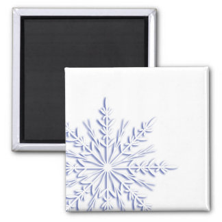 Blue Snowflake on White Magnet