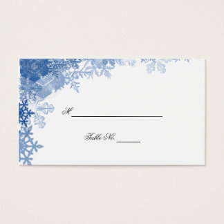 Blue Snowflake on White Wedding Place Cards