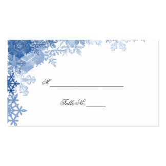 Blue Snowflake on White Wedding Place Cards Business Card