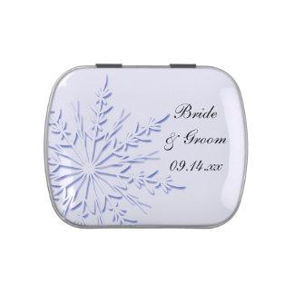 Blue Snowflake on White Winter Wedding Favor Jelly Belly Tin